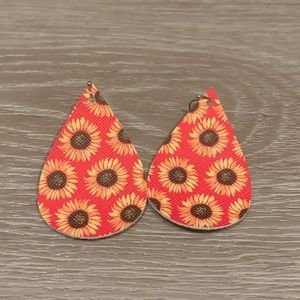 Sunflower Pink/Coral Faux Leather Earrings